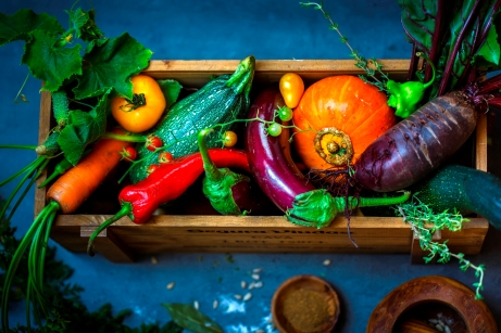 vegetables in the wooden box