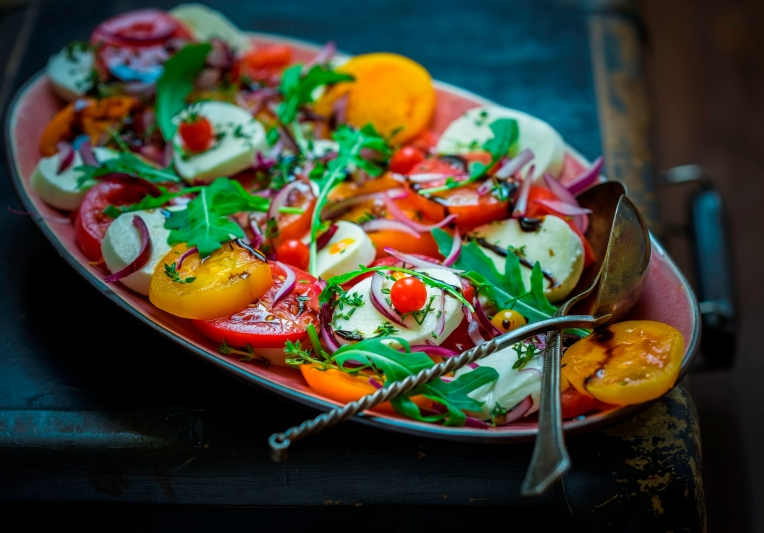 Caprese appetizer on the plate